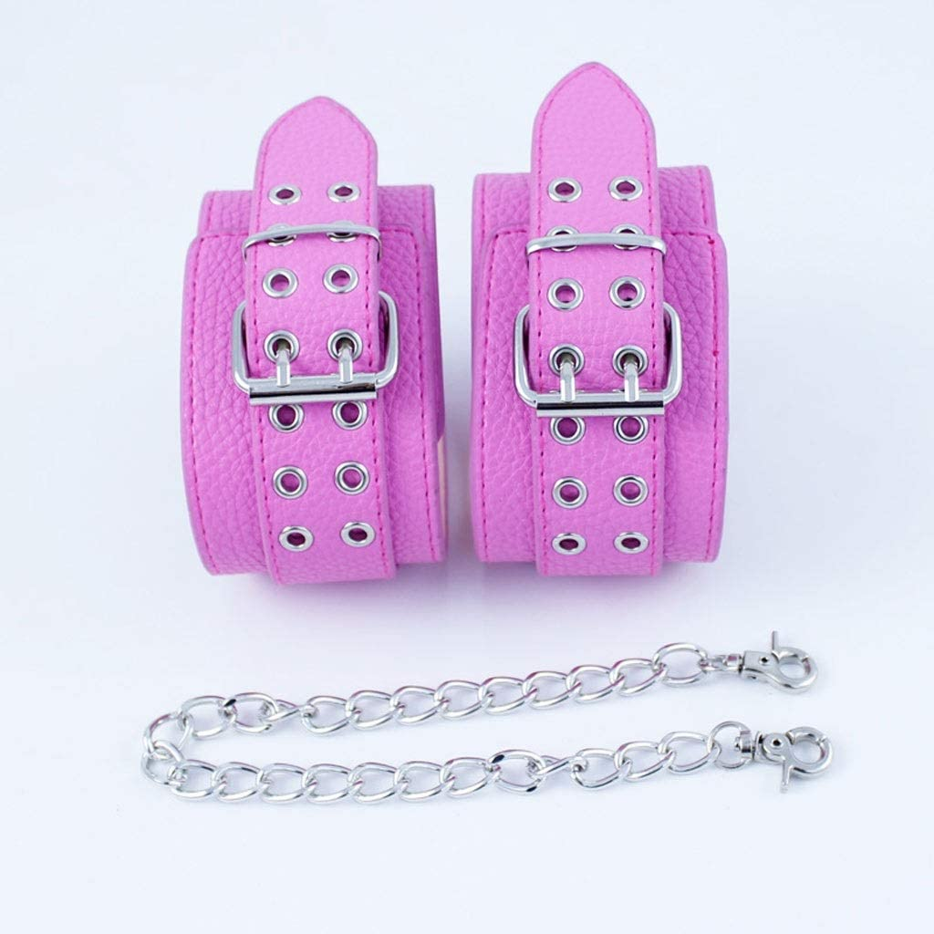 WRZHL Impermeable Ajustable de Cuero de PVC Handc'uffs Restricciones Moda Metal Cadenas Parejas Juego Herramientas Camiseta Rosa Jean
