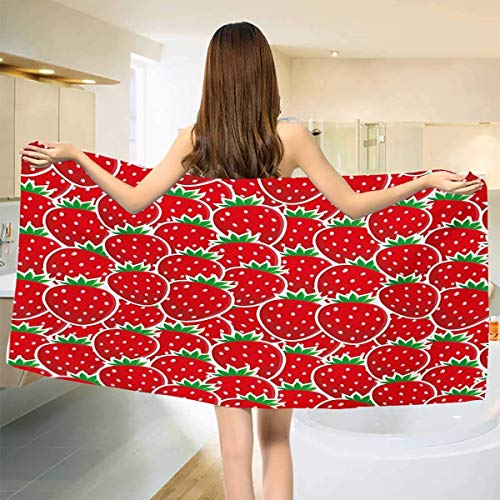 Soefipok Hand Towel Bath Towel Quick-Dry Towels Hair Towel Baby Bath Towel Print Wrap Towels Travel Towel Sports Towel,Strawberry Themed Botany Seeds Yummy Food Organic Growth Diet Health Towel ()