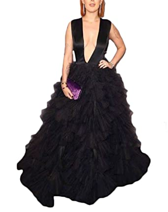 Ri Yun Sexy Plunging Neckline Prom Dresses Long 2018 A-Line Black Evening Gowns For Women at Amazon Womens Clothing store: