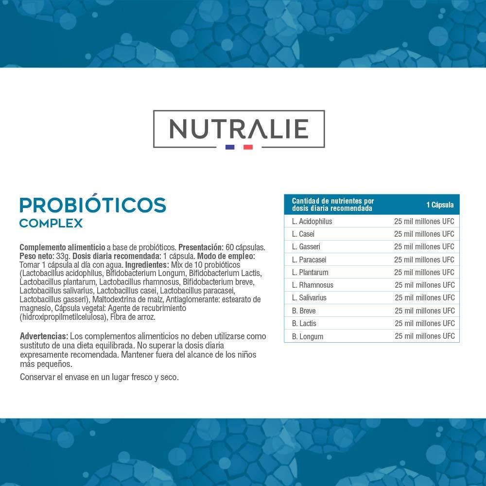 Probiótico 25 mil millones de UFC garantizados | 10 cepas efectivas y naturales | 60 cápsulas vegetales | Mejora las defensas y la flora intestinal ...