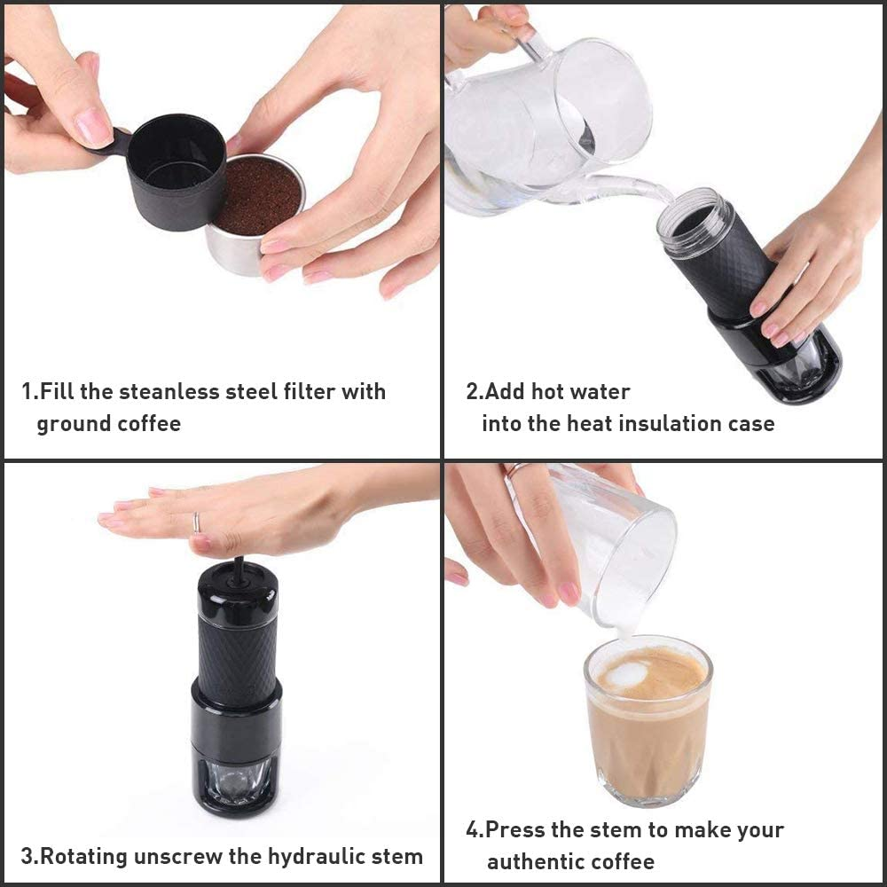 STARESSO Máquina de café manual portátil con cápsulas de café ...