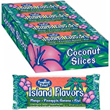 Island Flavors Coconut Slice Candy Bars (24 Mango, Pineapple/Banana and Kiwi-striped coconut bars)