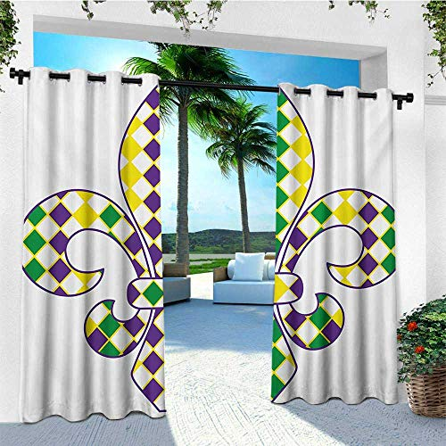 leinuoyi Mardi Gras, Outdoor Curtain Set of 2 Panels, Ancient Fleur De Lis with Traditional Festival Pattern Venetian Vintage, for Patio W120 x L96 Inch Purple Green Yellow