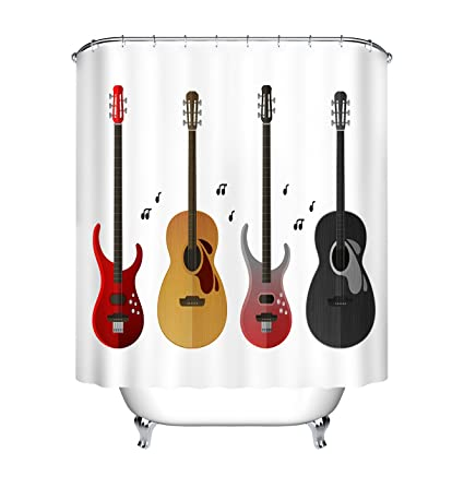 LB Electric Guitar Classic Decor Print Shower Curtain Set For Bathrooms Musical Instruments House