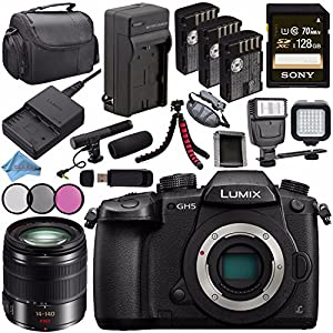 Panasonic Lumix DC-GH5 DC-GH5KBODY Mirrorless Micro Four Thirds Digital Camera + Lumix G Vario 14-140mm O.I.S. Lens + Battery + Charger + Sony 128GB SDXC Card + Carrying Case + Tripod + Flash Bundle
