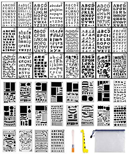 44PCs Letter and Number Stencils DIY Drawing Templates Journal Stencils with A Storage Bag for Notebook, Diary, Scrapbook + Storage Bag + Ruler + Art Brush