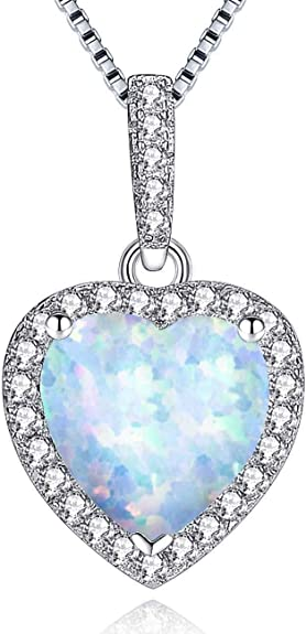 Sterling Silver Blue Simulated Opal Open Love Heart Pendant Necklace