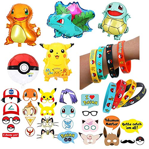 PLAYOLY 43 pcs Party Favor Supply Mega Pack for Pokemon Theme Party - Includes Pokemon Inspired Balloons, Bracelets, and Props - Perfect Stocking Stuffer -