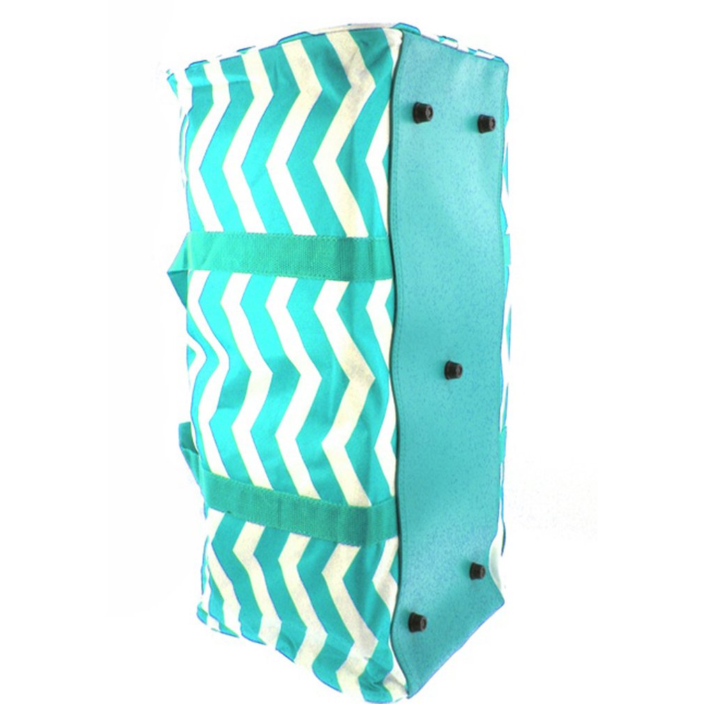 Chevron Zig Zag Print 22'' Canvas Duffle Bag (Blue)