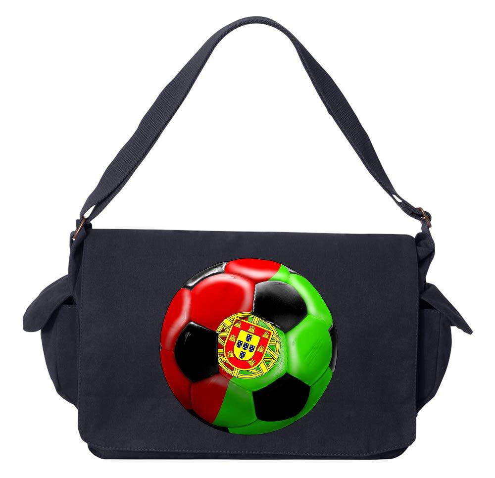 Tenacitee Portugal Soccer Khaki Green Raw Edge Canvas Messenger Bag