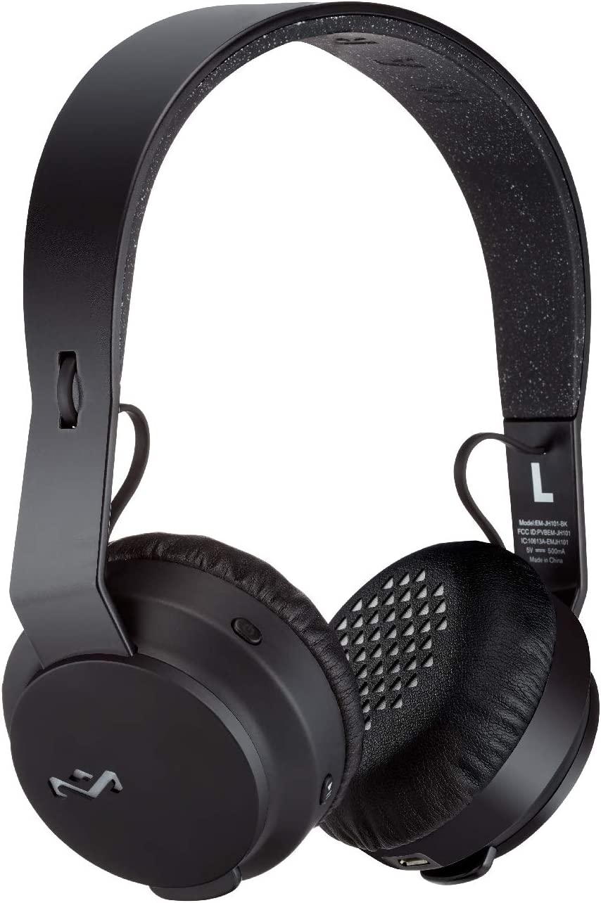 House of Marley Rebel Wireless Bluetooth On Ear Headphones with a Microphone, Black