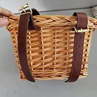 Retro Handmade Wicker Fahrradkorb mit Lederriemen, Fahrradkorb für Kinder