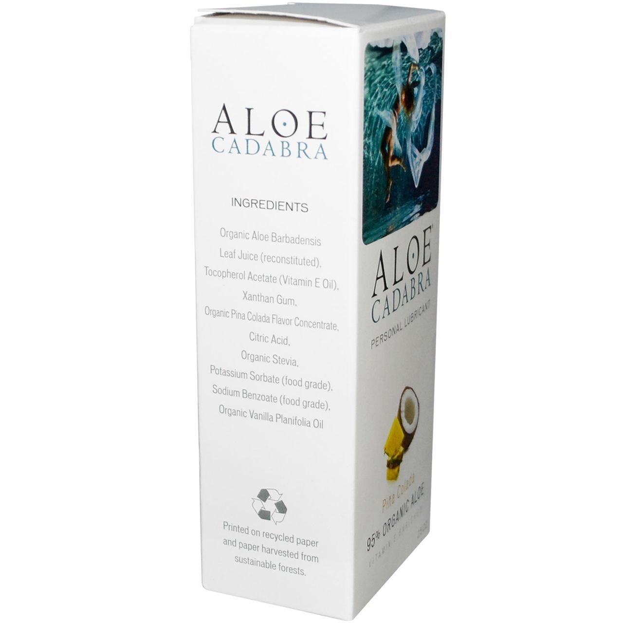 Aloe Cadabra Personal Pleasure Lube and Best Natural Vaginal Moisturizer Lubricant with 95% Organic Aloe Vera, Edible Flavored - Pina Colada, 2.5 Ounce