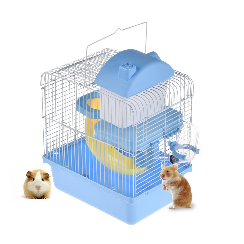 bluee Hamster Cage, Yunt 2-Level Pet Habitat Hamster House Haven Castle Pet Nest Cage for Gerbil Mouse Rat bluee