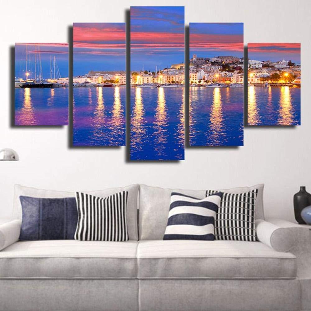 WJY Leinwandbilder Wandbilder Poster 5 St/ück Sch/öne Insel Ibiza Eivissa Nacht Sea View Paintings Home Decor 20x30cm-2p 20x40cm-2p 20x50cm-1p Kein Rahmen