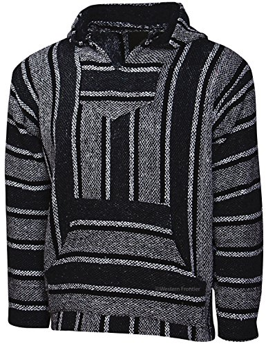 Price comparison product image El Paso Designs Genuine Mexican Baja Hoodie Pullover Poncho- Brushed Inside for an Ultra Soft Feel- for Men & Women (Large,  Black Gray and White Striped)