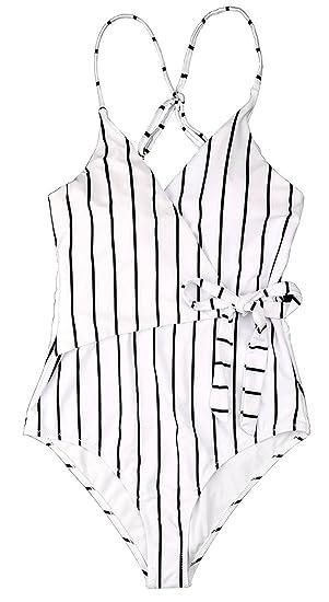 24d6547ccc4ec Amazon.com: LuckyMore Womens Fashion Stripe One-Piece Swimsuit Beach Swimwear  Bathing Suit: Clothing