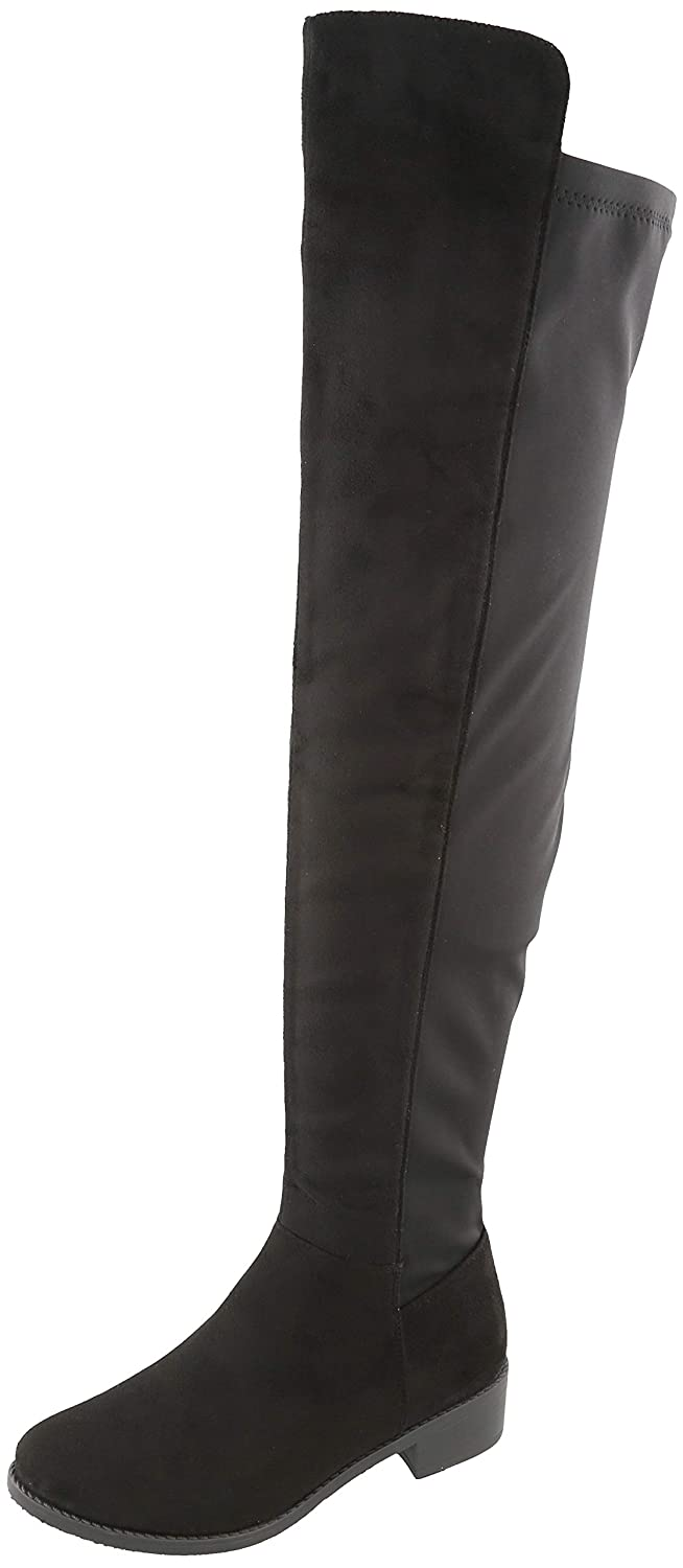 Black Imsu Cambridge Select Women's Classic Thigh-High Stretch Low Block Heel Over The Knee Boot