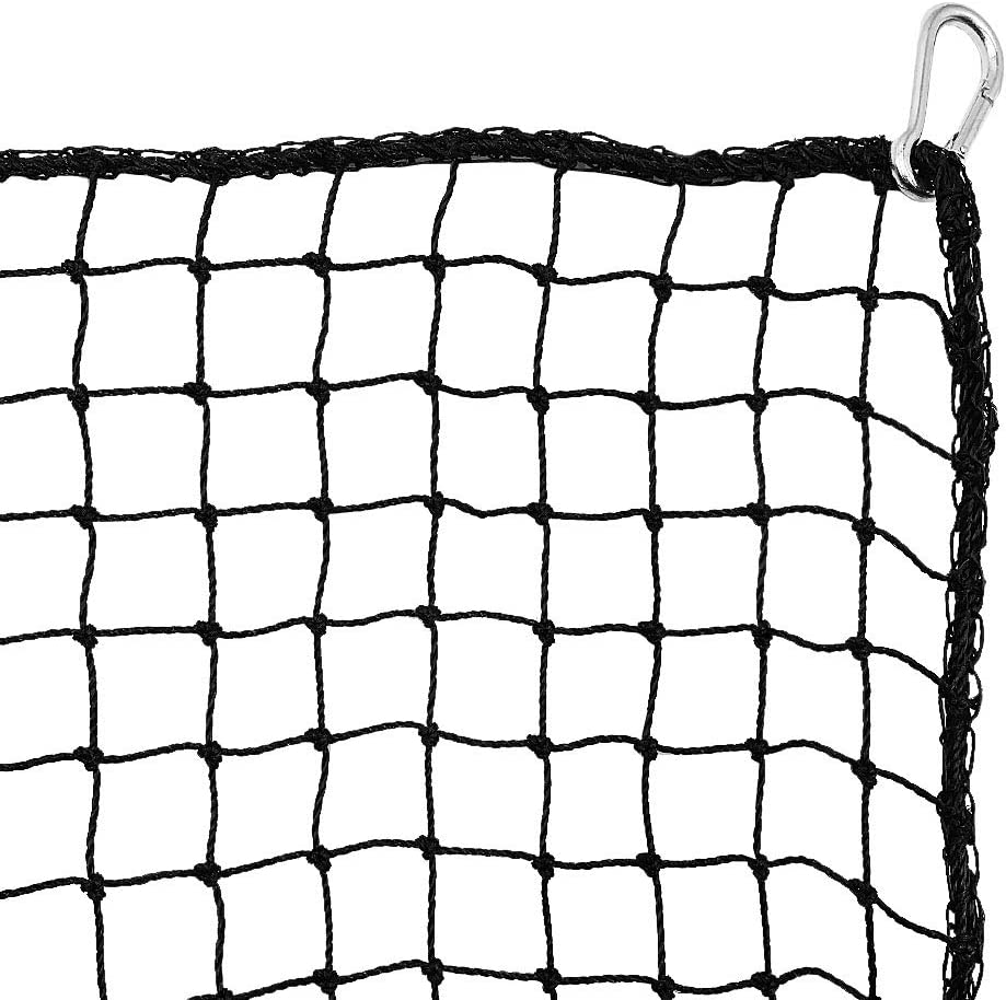 Heavy Duty Golf Netting High Impact Practice Barrier Net. Ball Containment for Hitting, Driving and Chipping. Black Netting with 4 Carabiners