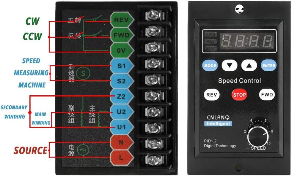 KKmoon Digitalanzeige Motor Drehzahlregler Motorregler Sanftanlaufger/äte 220V AC 400W