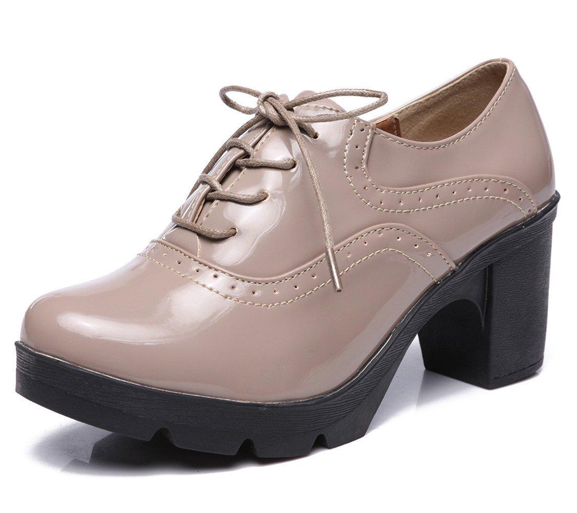 DADAWEN Femmes Chaussures de Ville Chaussures à Lacets Derbies (C) Baskets Baskets Cuir Plateforme/Mary Jane Oxfords Chaussures Abricot (C) 2e4064e - boatplans.space