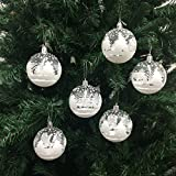 PEPPERLONELY 6PC/Pack Shatterproof Christmas Ball Ornaments 70mm (2-3/4 Inch) - Clear/White Snow