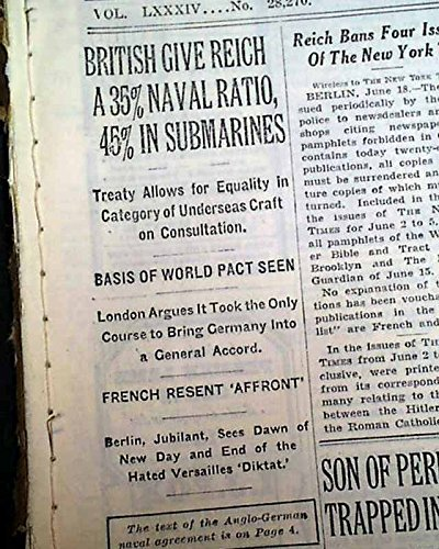 Amazon anglo german naval agreement kriegsmarine royal navy anglo german naval agreement kriegsmarine royal navy signing 1935 newspaper the new york times platinumwayz