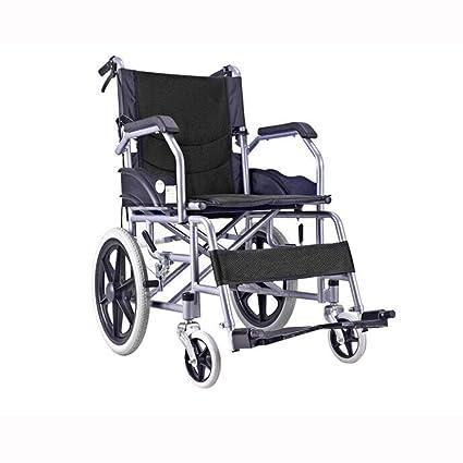 QIDI Silla De Ruedas Plegable Ligero Freno Manual Llanta Sólida Pedal Desmontable Portátil Transporte (Color