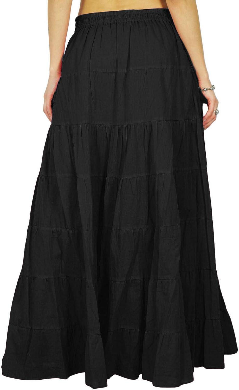 Phagun Womens Long Skirt Bohemian Gypsy Tiered Cotton Maxi Skirt Beach Wear