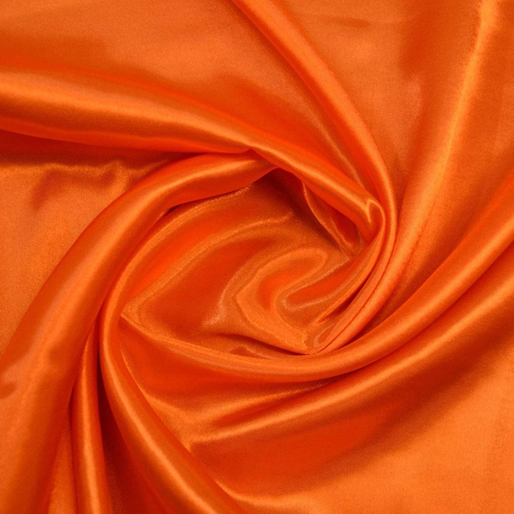 mds Pack of 10 Yard Charmeuse Bridal Solid Satin Fabric for Wedding Dress Fashion Crafts Costumes Decorations Silky Satin 44'' Orange by mds (Image #1)