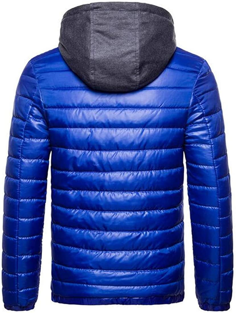 Revolutee Men Cotton-Padded Hooded Puffer Slim Faux Twinset Parka Jackets Coat