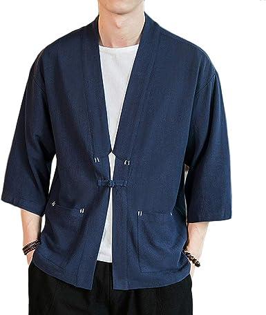 GladiolusA Hombres Cárdigan Kimono Camisa Chaqueta Retro Tradicional Estilo Chino Abrigos: Amazon.es: Ropa y accesorios