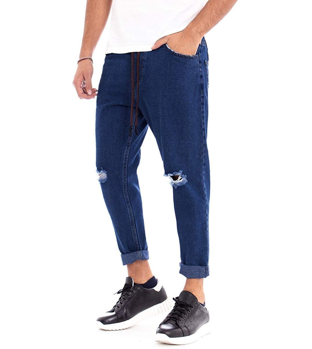 Pantalone Uomo Jeans Panta-tuta Denim Elastico Taglio Ginocchia Cavallo Basso...