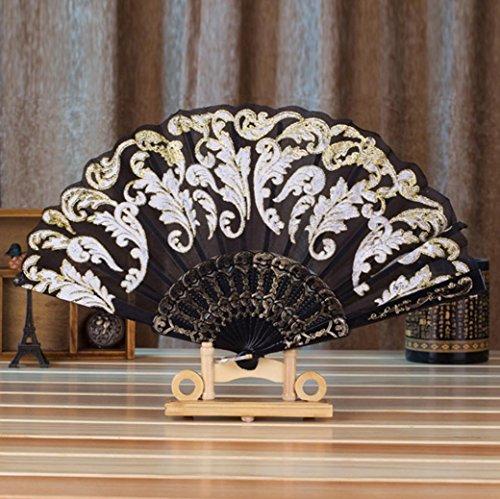 Folding Hand Fan,GOODCULLER Chinese/Spanish Style Dance Wedding Party Lace Silk Folding Hand Held Flower Fan (Black)