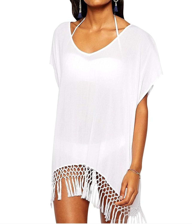 Ipretty Bikini cover up Damen Chiffon Stitching Sommer StrandKleid weiß