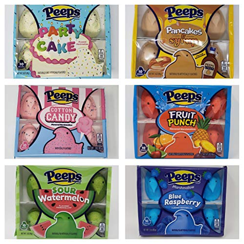 Easter Peeps Marshmallow Chicks Variety Pack of 6 Flavors - Pancakes & Syrup, Fruit Punch, Cotton Candy, Party Cake, Sour Watermelon, and Blue Raspberry (Variety Pack of 6 Flavors, 6)
