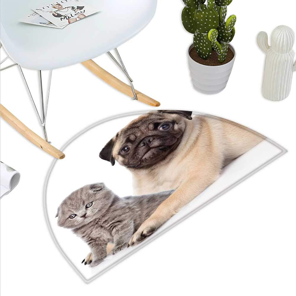 color07 H 15.7  xD 23.6  Pug Semicircle Doormat Cute Photograph of a Pug with Its Little Paws Pure Bred Dog Image Animal Fun Halfmoon doormats H 27.5  xD 41.3  Brown Pale Brown