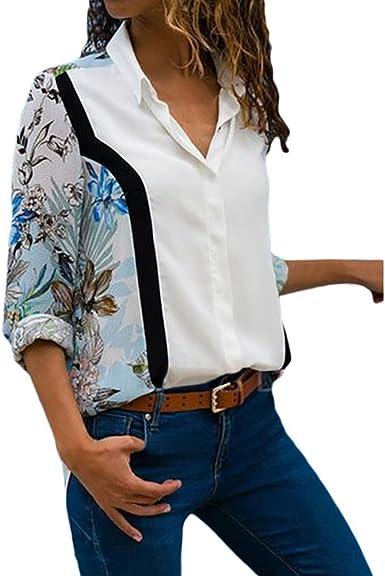 Mujer Camiseta Mango Largo Blusa Cuello En V Casual Elástico Estilo cómodo Top Shirt Camiseta de Mujer Photocolor 2XL: Amazon.es: Ropa y accesorios