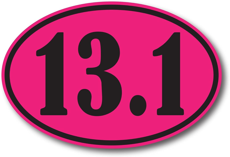 13.1 Half Marathon Pink and Black Oval Car Magnet Decal Heavy Duty Waterproof