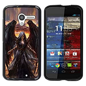 Exotic-Star ( Death Drawing Black Wings Witch ) Fundas Cover Cubre Hard Case Cover para MOTO X / XT1058 / XT1053 / XT1052 / XT1056 / XT1060 / XT1055