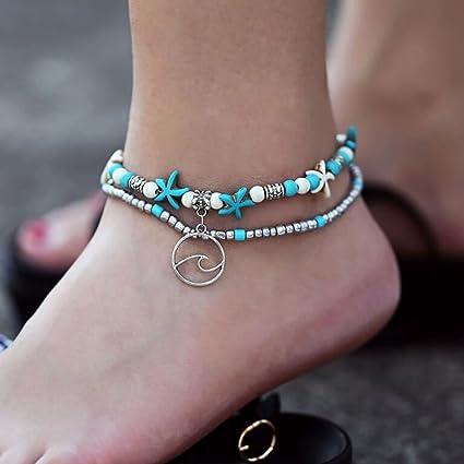 Jovono - Tobillera bohemia punk multicapa estrella de mar yoga playa ondas colgante cadena de pie pulseras para mujeres y niñas (1 pieza)