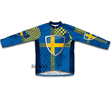 Amazon.com   Sweden Long Sleeve Cycling Jersey for Men   Sports ... a76ac2c47