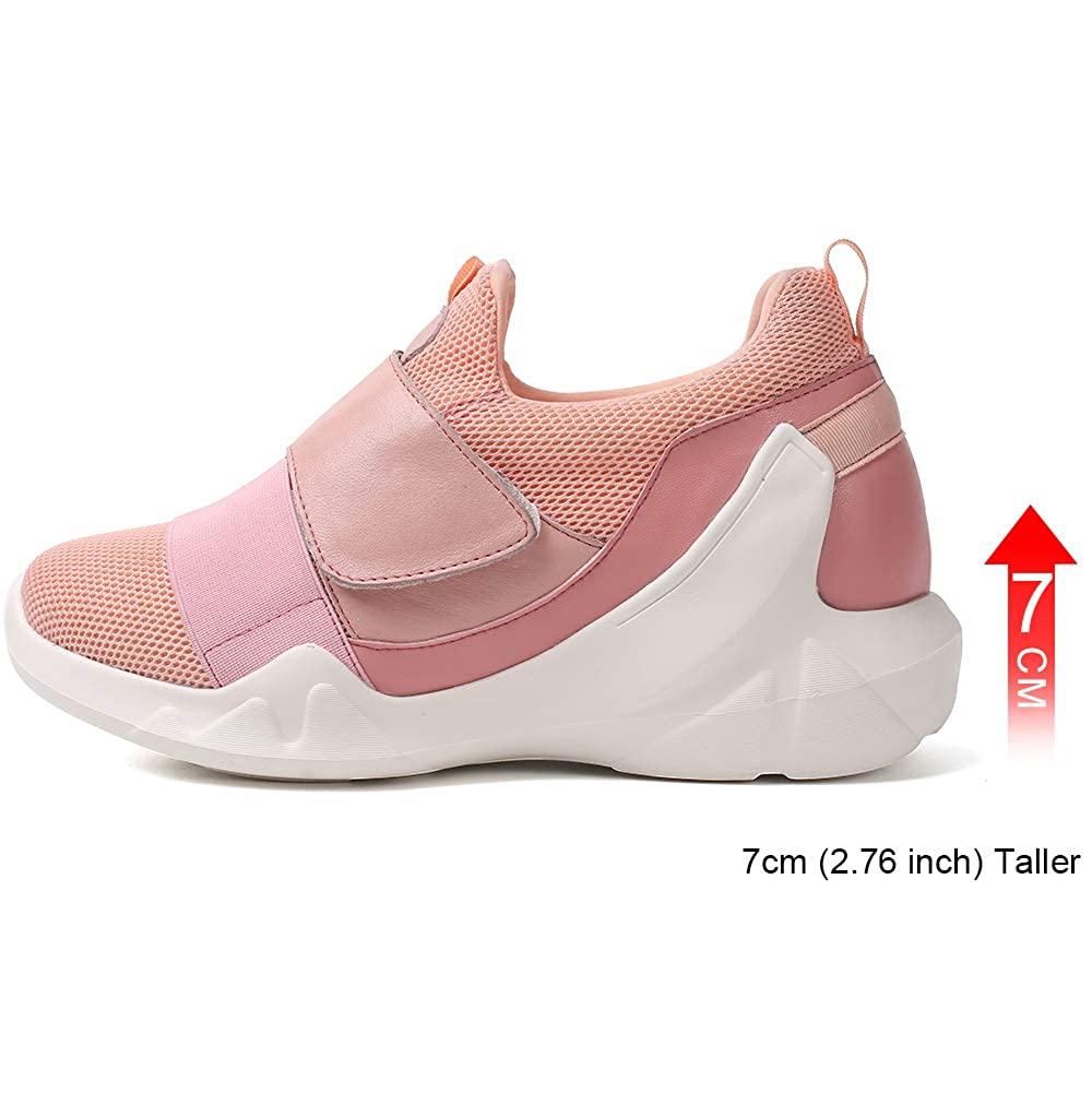 - Hesion Increased Women's shoes Stretch Fabric Fashion New Casual Increase Sports shoes 7 cm Pink