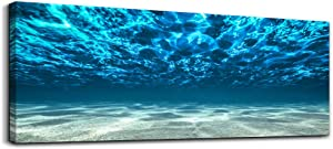 Print Artwork Blue Ocean Sea bedroom Wall Art Decor Poster Artworks For living room Canvas Prints Picture Seaview Bottom View Beneath Surface Pictures Painting Canvas Modern Seascape Home Office Decor