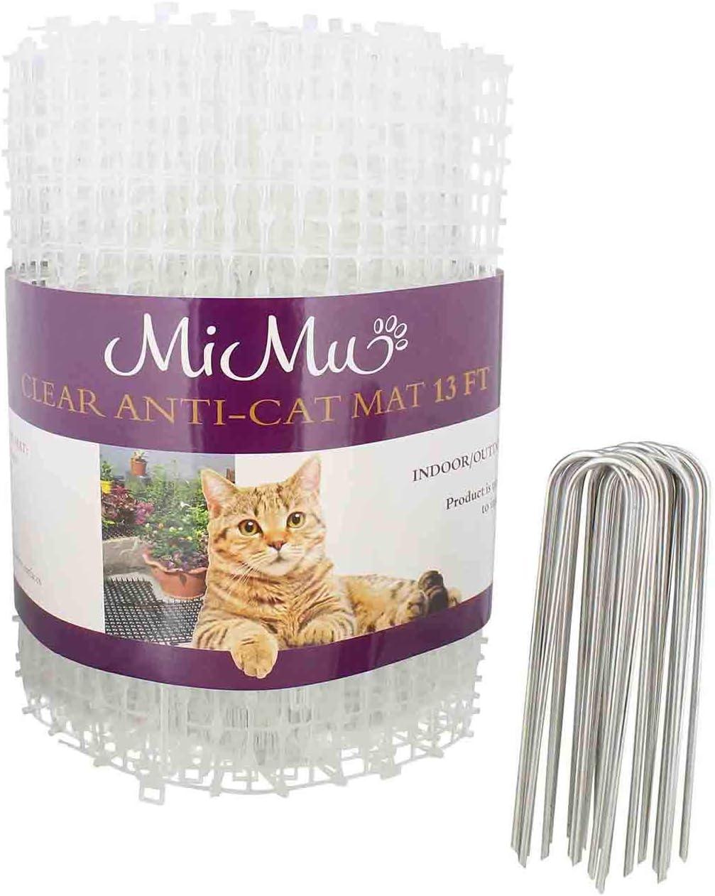 MiMu Dog & Cat Deterrent Mat Outdoor & Indoor Cat Scat Spike Mat Cat Repellent Spikes - Continuous Roll in Clear