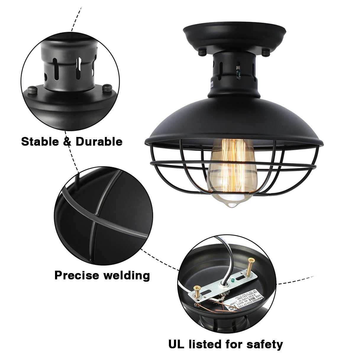 KingSo Industrial Metal Cage Ceiling Light, E26 Rustic Mini Semi Flush Mounted Pendant Lighting Dome/Bowl Shaped Lamp Fixture for Country Hallway Kitchen Garage Porch Bathroom by KINGSO (Image #5)