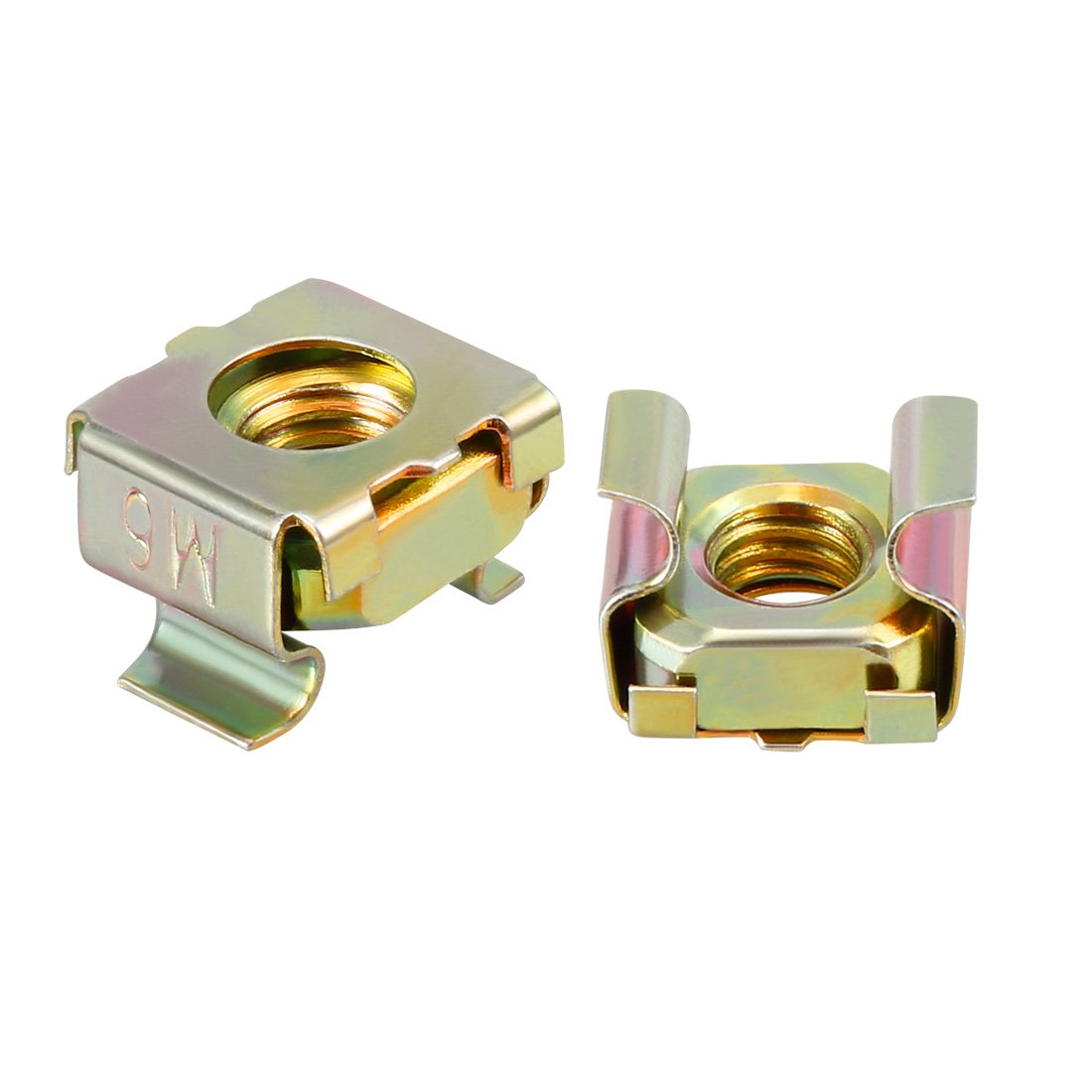 uxcell 55 Pack, M6 Cage Nut, Carbon Steel Zinc Plated Bronze Tone for Server Shelf Cabinet