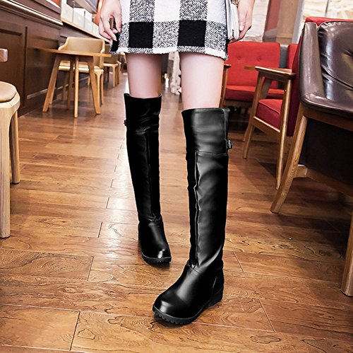 Aisun Damen Runde Zehen Kunstleder Riemchen Schnalle Blockabsatz Langschaft Stiefel mit Reißverschluss Schwarz