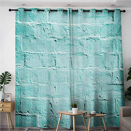 - VIVIDX Waterproof Window Curtains,Mint Brick Old Wall Background in Vibrant Tones Architecture Urban Building Artsy Picture,for Bedroom Grommet Drapes,W96x72L,Turquoise