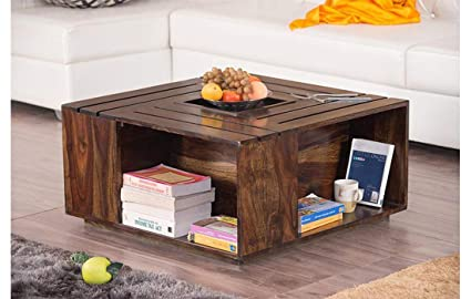 Km Decor Solid Sheesham Wood Coffee Table For Living Room Centre Table Walnut Amazon In Home Kitchen